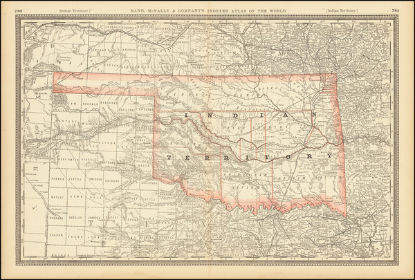 98-Oklahoma & Indian Territory Map By Rand McNally & Company