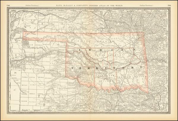 96-Oklahoma & Indian Territory Map By Rand McNally & Company