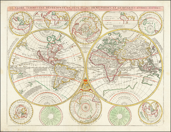 39-World Map By Vincenzo Maria Coronelli / Jean-Baptiste Nolin
