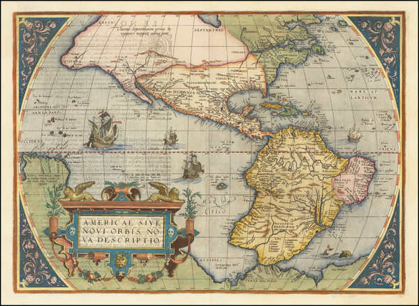 45-Western Hemisphere and America Map By Abraham Ortelius