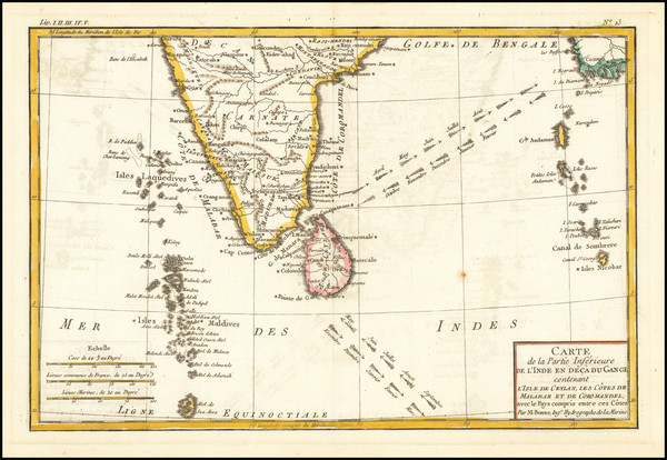 38-India and Sri Lanka Map By Rigobert Bonne