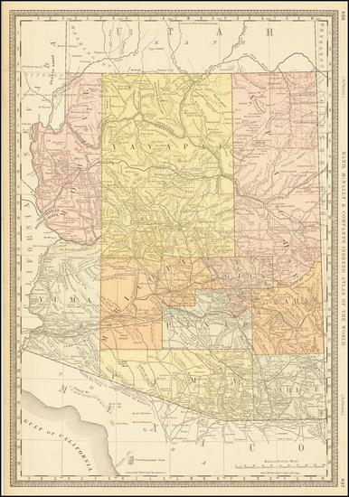 74-Arizona Map By William Rand  &  Andrew McNally