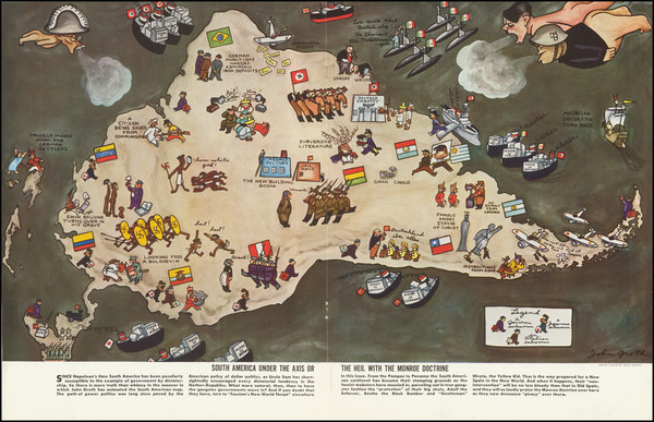 63-South America, Pictorial Maps and World War II Map By John Groth