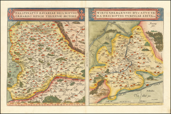 94-France and Germany Map By Abraham Ortelius