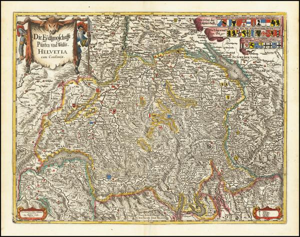 83-Switzerland Map By Matheus Merian