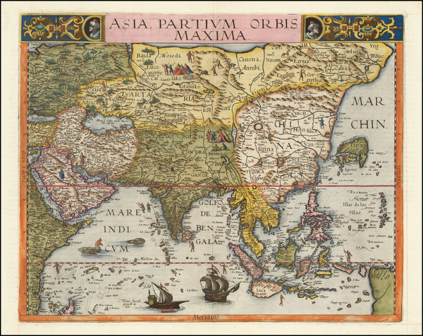 45-Indian Ocean, Asia and Southeast Asia Map By Gerard de Jode
