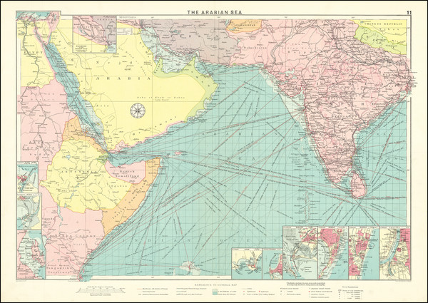 16-India, Central Asia & Caucasus, Middle East and Arabian Peninsula Map By George Philip &