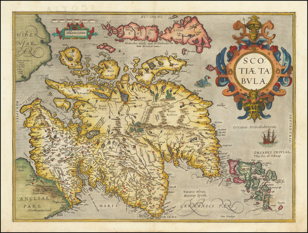 16-Scotland Map By Abraham Ortelius