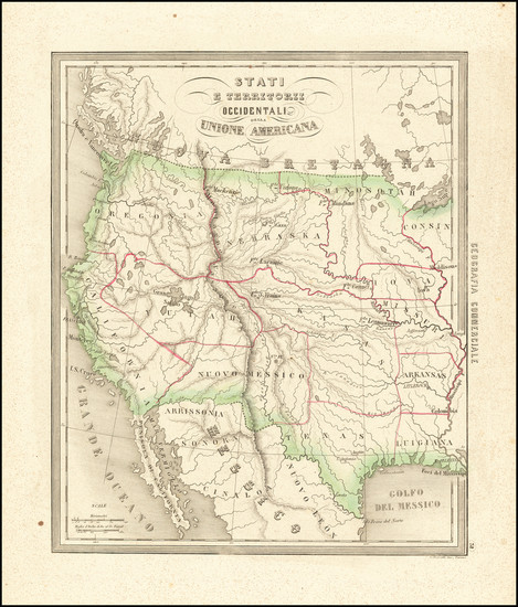 28-Southwest, Rocky Mountains and California Map By Francesco Costantino Marmocchi