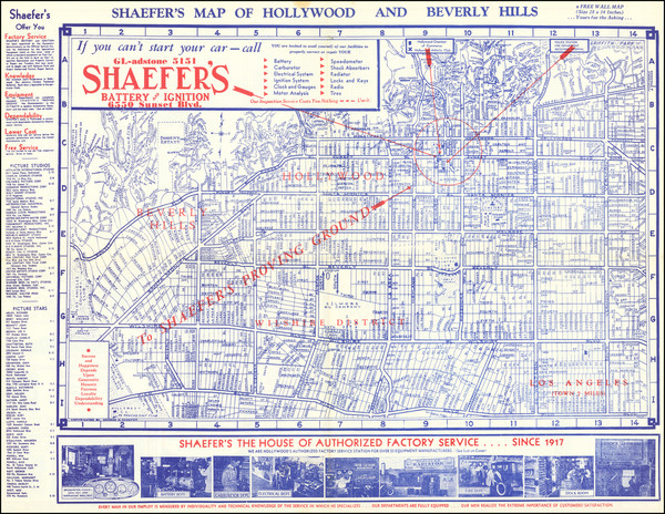 42-Los Angeles Map By George H. Schaefer's Battery & Ignition