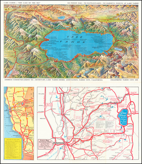 45-Nevada, Pictorial Maps, California and Other California Cities Map By Gerald A. Eddy