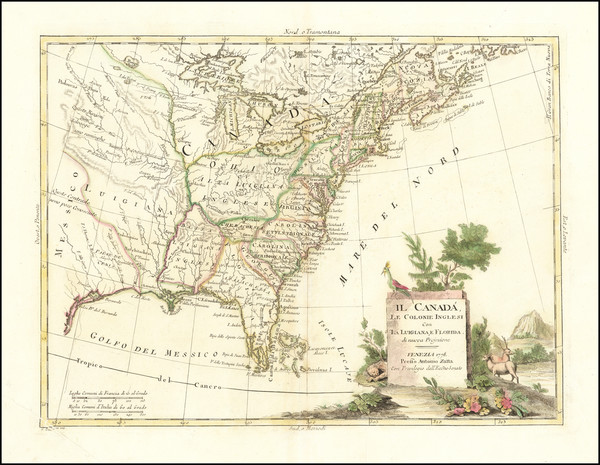 65-United States and American Revolution Map By Antonio Zatta