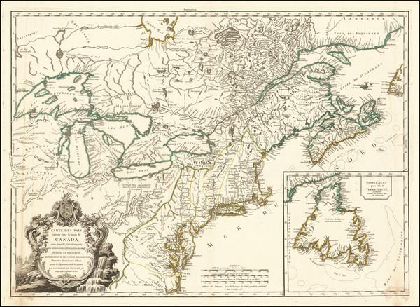 62-Mid-Atlantic, Midwest, Michigan and Canada Map By Didier Robert de Vaugondy