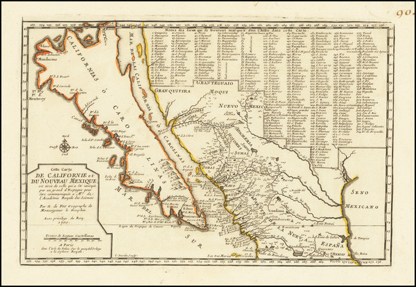 7-Baja California, California and California as an Island Map By Nicolas de Fer