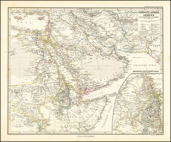 91-Middle East and Arabian Peninsula Map By Adolf Stieler