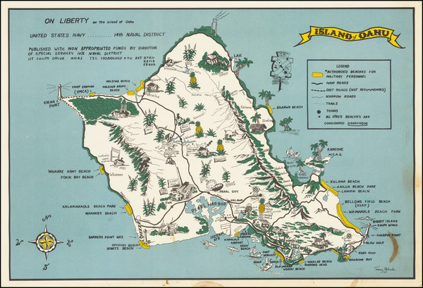 90-Hawaii, Hawaii and Pictorial Maps Map By Tommy Robuck