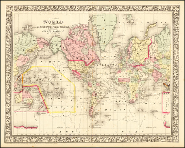 59-World Map By Samuel Augustus Mitchell Jr.