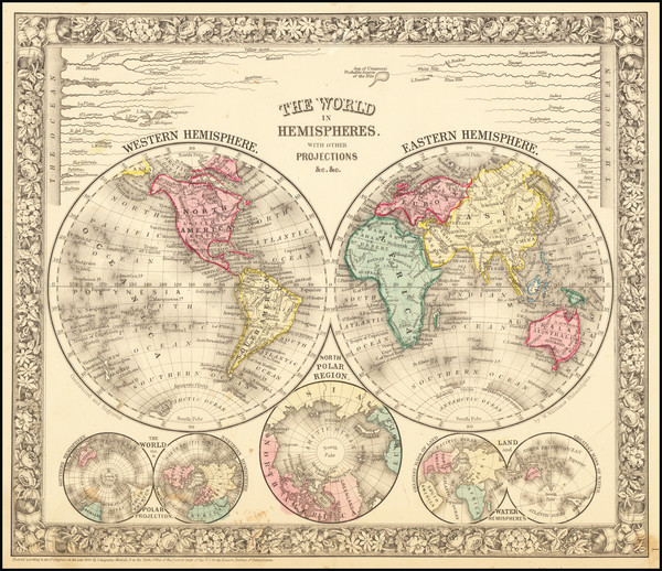 13-World Map By Samuel Augustus Mitchell Jr.