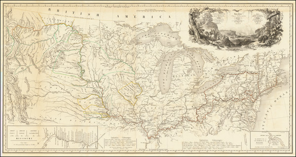 43-United States, South, Midwest, Plains and Rocky Mountains Map By Karl Bodmer / Prince Alexander