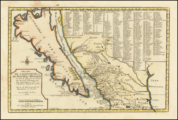 97-Baja California, California and California as an Island Map By Nicolas de Fer