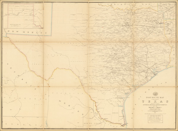 91-Texas, Plains and Southwest Map By Post Office Department  &  W. L. Nicholson