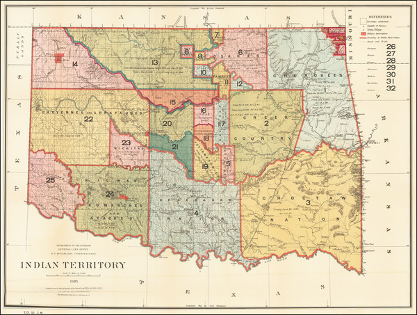 75-Oklahoma & Indian Territory Map By U.S. General Land Office