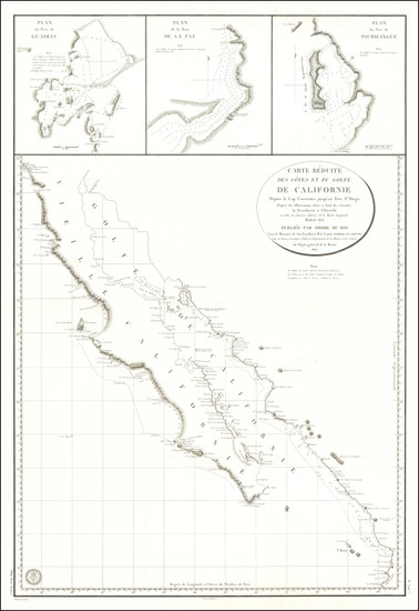 73-Mexico, Baja California and California Map By Depot de la Marine