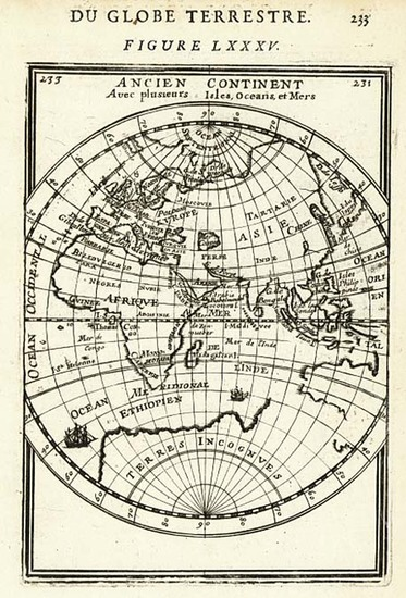 58-World and Eastern Hemisphere Map By Alain Manesson Mallet