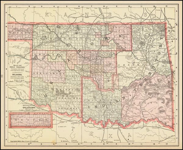 44-Oklahoma & Indian Territory Map By Mast, Crowell & Kirkpatrick