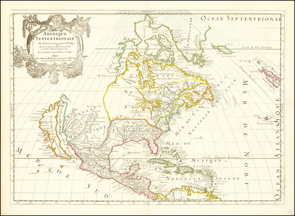 38-North America and California as an Island Map By Guillaume Sanson / Pierre Mariette