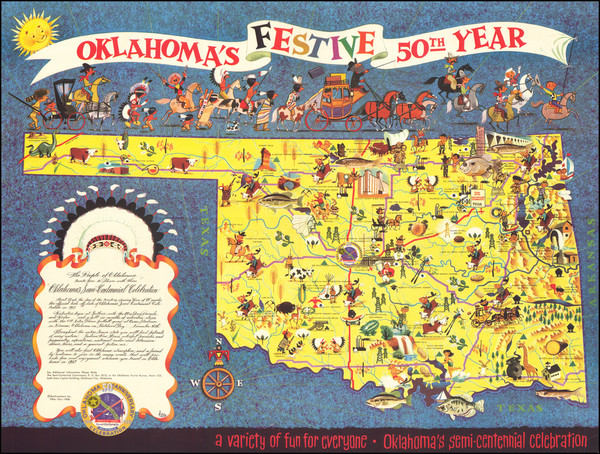 57-Oklahoma & Indian Territory Map By Lowell Hess