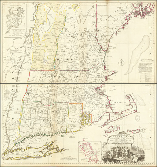 62-New England, Connecticut, Massachusetts, Rhode Island, Vermont and American Revolution Map By T