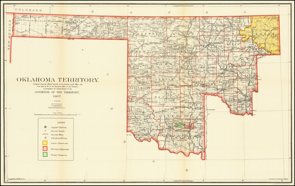 9-Oklahoma & Indian Territory Map By U.S. General Land Office
