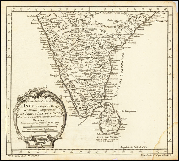 72-India and Sri Lanka Map By Jacques Nicolas Bellin