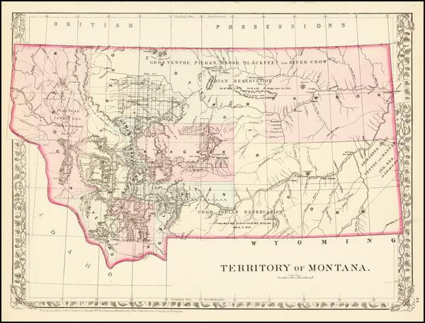 17-Montana Map By Samuel Augustus Mitchell Jr.