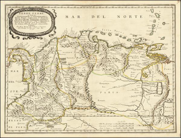 85-Colombia, Peru & Ecuador and Venezuela Map By Nicolas Sanson