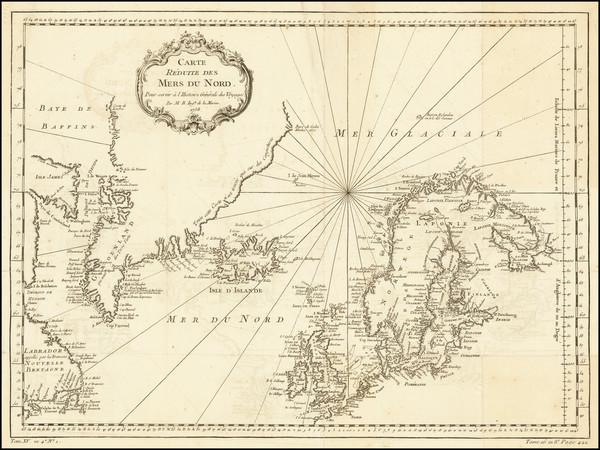 47-Atlantic Ocean and Scandinavia Map By Jacques Nicolas Bellin