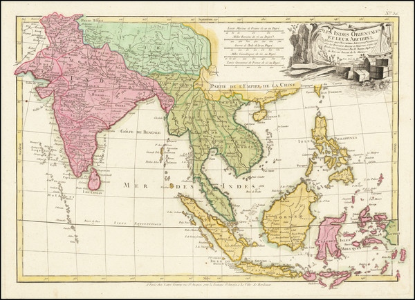 57-India, Southeast Asia, Philippines and Indonesia Map By Jean Lattre