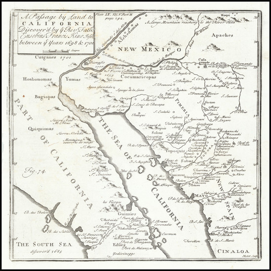93-Mexico, Baja California, California and California as an Island Map By Fr. Eusebio Kino