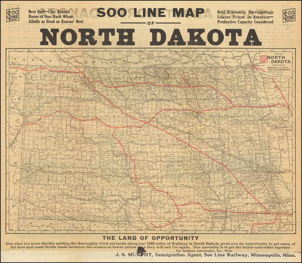98-North Dakota Map By Soo Line
