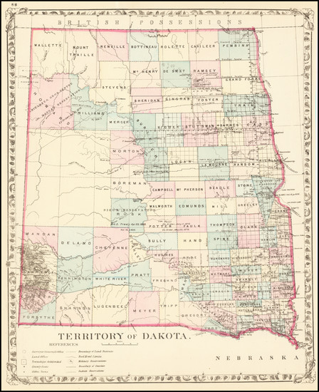 25-North Dakota and South Dakota Map By Samuel Augustus Mitchell Jr.
