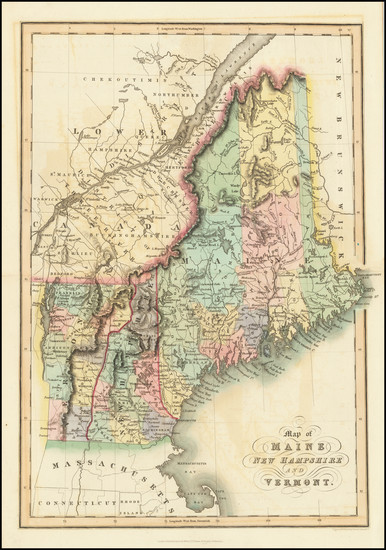 18-New England, Maine, New Hampshire and Vermont Map By Hinton, Simpkin & Marshall