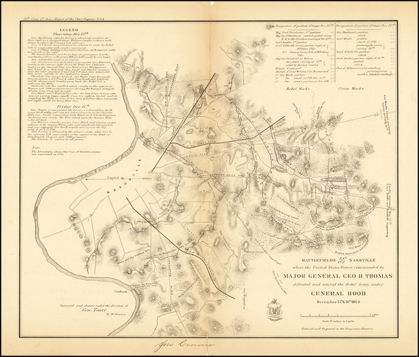 100-South, Tennessee and Civil War Map By Bowen & Co. / M. Peseux