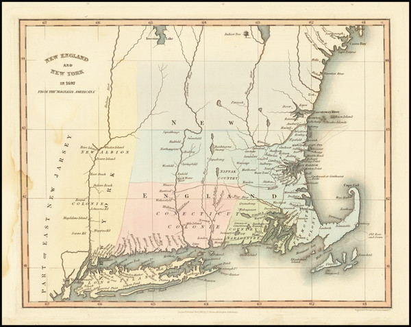 96-New England, Connecticut, Maine, Massachusetts and New Hampshire Map By Hinton, Simpkin & M