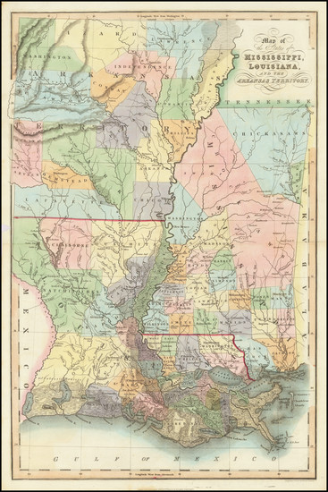 50-Louisiana, Mississippi and Arkansas Map By Hinton, Simpkin & Marshall