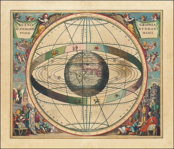 54-Eastern Hemisphere, Indian Ocean and Celestial Maps Map By Andreas Cellarius