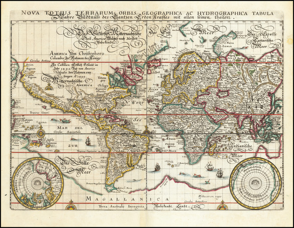 53-World and World Map By Matthaus Merian