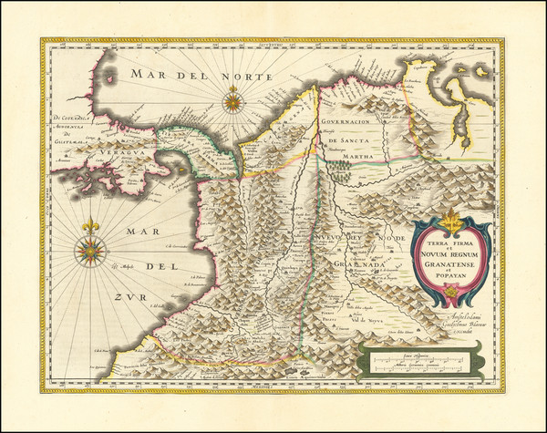 90-Colombia Map By Willem Janszoon Blaeu
