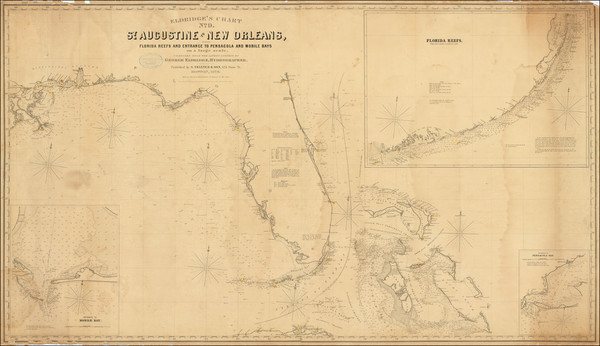 73-Florida, Louisiana, Alabama, Mississippi and Bahamas Map By George Eldridge
