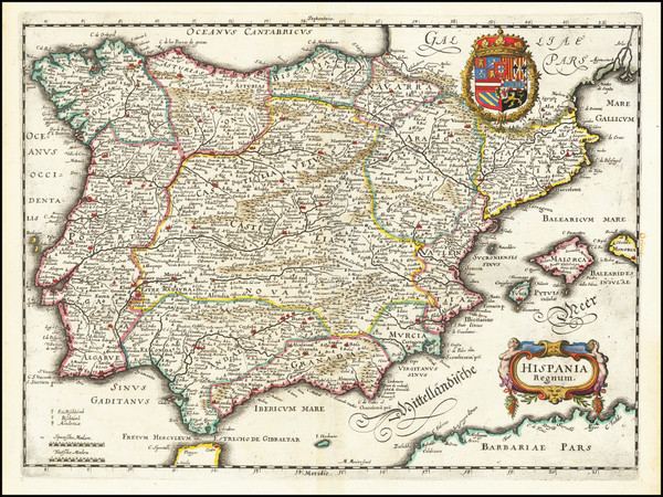 35-Spain and Portugal Map By Matthaus Merian